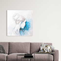 Canvas 36 x 36 - Watercolor abstract girl with hair bun