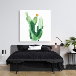 Canvas 36 x 36 - Watercolor paddle cactus with flower