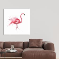 Canvas 36 x 36 - Pink flamingo watercolor