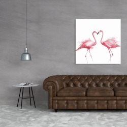 Canvas 36 x 36 - Two pink flamingo watercolor