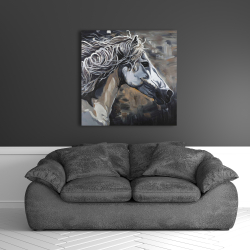 Canvas 36 x 36 - Side of a wild horse