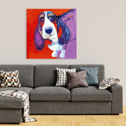 Canvas 36 x 36 - Abstract colorful basset dog