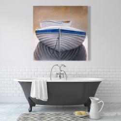 Canvas 36 x 36 - Two canoe boats