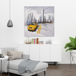 Canvas 36 x 36 - Yellow taxi and city sketch