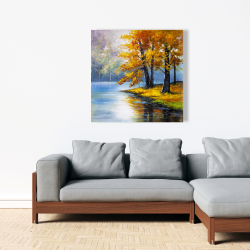 Canvas 36 x 36 - Two trees by the lake