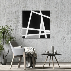 Canvas 36 x 36 - Black and white abstract lines
