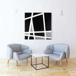 Canvas 36 x 36 - Black and white abstract shapes