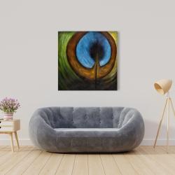 Canvas 36 x 36 - Peacock feather center