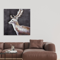 Canvas 36 x 36 - Deer profile view in the dark