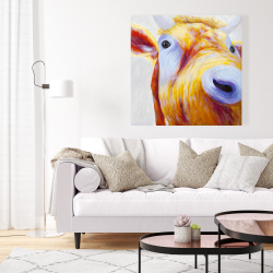 Canvas 36 x 36 - Closeup of a colorful country cow