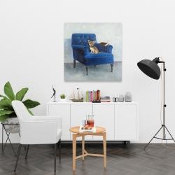 Canvas 36 x 36 - Chihuahua on a blue armchair