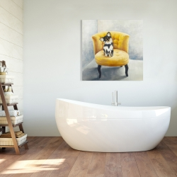 Canvas 36 x 36 - Long haired chihuahua on a yellow armchair