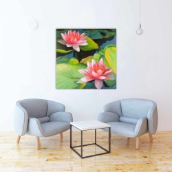 Canvas 36 x 36 - Water lilies and lotus flowers