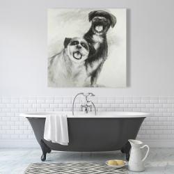 Canvas 36 x 36 - Happy dogs sketch