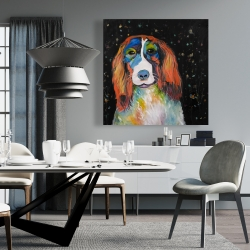 Canvas 36 x 36 - Colorful dog
