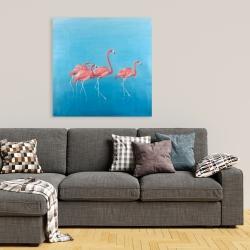 Canvas 36 x 36 - Four flamingos