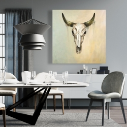 Canvas 36 x 36 - Color fading bull skull