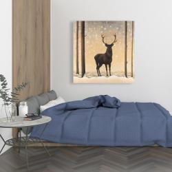 Canvas 36 x 36 - Roe deer in winter