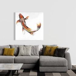 Canvas 36 x 36 - Butterfly koi fish