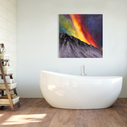 Canvas 36 x 36 - Aurora borealis in the mountain