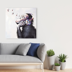 Canvas 36 x 36 - Monkey listening music
