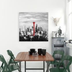 Canvas 36 x 36 - Space needle in red