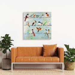Canvas 36 x 36 - Small abstract colorful birds