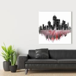 Canvas 36 x 36 - Red watercolor cityscape