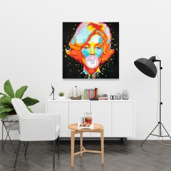 Canvas 36 x 36 - Colorful maryline monroe bubblegum