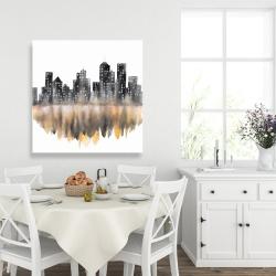 Canvas 36 x 36 - Yellow watercolor cityscape