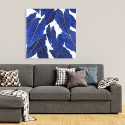 Canvas 36 x 36 - Tropical abstract blue leaves