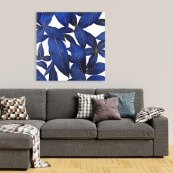 Canvas 36 x 36 - Abstract modern blue leaves