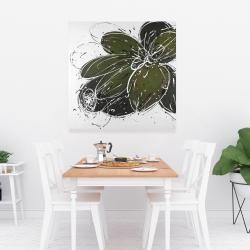 Canvas 36 x 36 - Green flower with splash outline