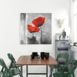 Canvas 36 x 36 - Two red flowers on a grayscale background