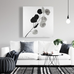 Canvas 36 x 36 - Grayscale branch with round shape leaves
