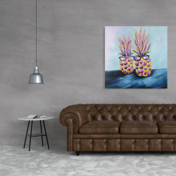 Canvas 36 x 36 - Funny pineapples with sunglasses