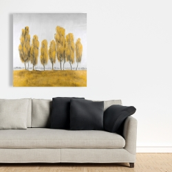 Canvas 36 x 36 - Seven abstract yellow trees