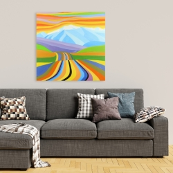 Canvas 36 x 36 - Mountain road multicolored