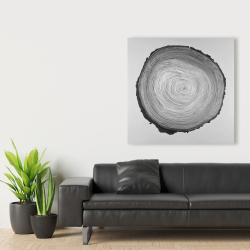 Canvas 36 x 36 - Grayscale round wood log