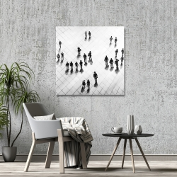 Canvas 36 x 36 - Overhead view of people on the street