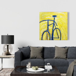 Canvas 36 x 36 - Blue bike on yellow background