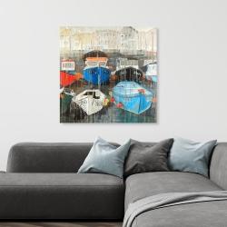 Canvas 36 x 36 - Color fading rain at the port
