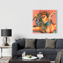 Canvas 36 x 36 - Sensual tanned lady with paint splash