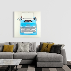Canvas 36 x 36 - Blue typewritter machine