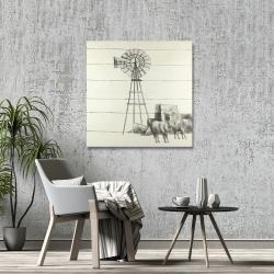 Canvas 36 x 36 - Vintage old texas windmill