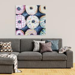 Canvas 36 x 36 - Watercolor delicious looking doughtnuts