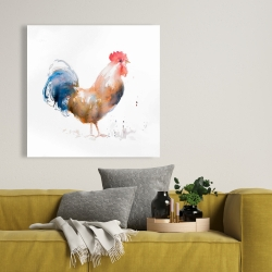 Canvas 36 x 36 - Rooster watercolor style