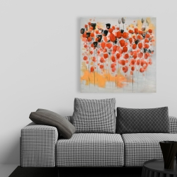 Toile 36 x 36 - Champ de fleurs ronde rouges abstraites