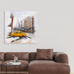 Canvas 36 x 36 - Taxi in the street sketch