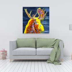 Canvas 36 x 36 - Colorful moose